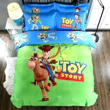 toy story bedding set printed comforter duvet covers sheets boys bedroom cotton soft woven green blue