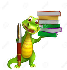 3d rendered alligator cartoon character with pen and book stack stock photo 53899914