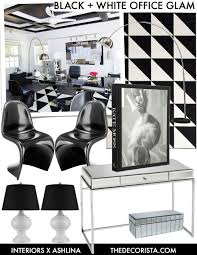 black and white office design. Get The Look: Hollywood Glam Black And White Office Space Design