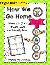 How We Go Home Chart Printable How We Go Home Clip Chart Colorful Polka Dot Theme Classroom Decor