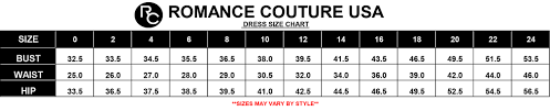 Romance Couture Size Chart Couture Dresses