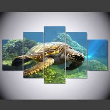 pictures of turtles to print. Unique Print 5 Pieces Printed Modular Canvas Oil Painting Turtles Print Wall Art  Picture Modern Home Decor With Pictures Of To Print