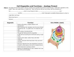 Cell Organelles And Functions Analogy Project