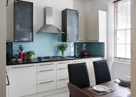 White Kitchen Color Schemes Wonderful Blue Backsplash Tiles And White Cabinet Kitchen Color
