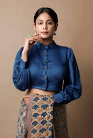 Collar Style Neck Design High Neck Shirt Style Designer Blouse