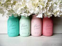 mason jar ideas - shabby chic painted mason jars by Beach Blues