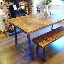 Image is loading Industrial-Style-Dining-Table-and-Bench-Set