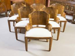 Furniture: Art Deco Dining Chairs Fresh Antique 6 Art Deco Burr Walnut  Dining Chairs C