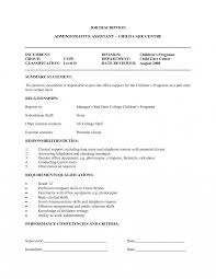 Resume For A Daycare Job Child Care Teacher Jobiption Template Director Resume Assistant 30