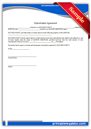 Subordination Agreement Template Free Printable Subordination Agreement Form GENERIC 1