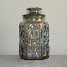 imperial glass atterbury scroll iridescent carnival glass canister jar with lid vintage kitchen storage