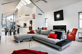 decorating with gray furniture. Living Room Gray And Red Couch Brown Decorating With Furniture O