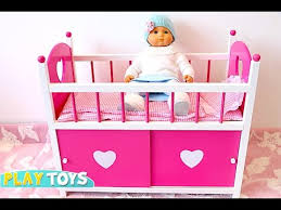 Baby doll house toys doll bed and wardrobe playing with baby