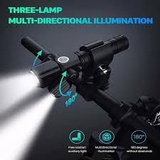 Joliann-<b>T6 L2LED</b> Aluminum Alloy <b>Multifunction</b> Three Lamp Head ...