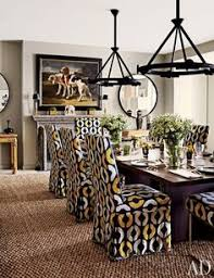 amazing dining room design slipcovered chairs lighting and abaca rug