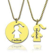 mother and child necklace set with name 18ct gold plated name my jewellery