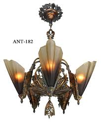 antique art deco slip shade soleure 5 light chandelier
