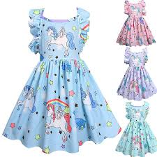 <b>2019</b> New Children <b>Unicorn</b> Dresses 3-7y Girls <b>Pink</b> Cartoon ...