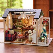 details about 1 24 diy miniature dollhouse kit holiday times shabby chic cottage