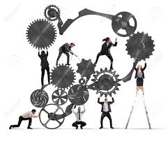 Work Together Teamwork Of Businesspeople Work Together To A System Of Gears