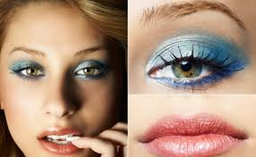 blue eye makeup and a soft tinted lip gloss plements green eyes great