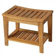 homcom shower stool w shelf 53lx35wx43hcm acacia wood teak colour aosom uk