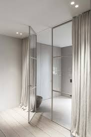 curtains for home office. Minimal Room Divider With Glass Steel Partitions And Curtains For Privacy In An Open Plan Home Office D