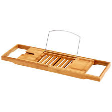 Ollieroo Natural Bamboo Bathtub Caddy with Extending Sides Adjustable Book  Holder Tray Organizer for Phone and