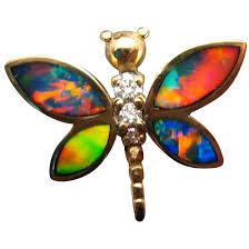 14k yellow gold gem opal and diamond dragonfly pendant