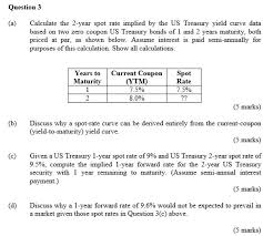 Solved Question3 A Calculate The 2 Year Spot Rate Impli