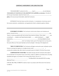 Sample Construction Contract Builders Contract Template Free Templates Construction Check