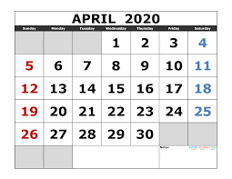April 2020 Template April 2020 Printable Calendar Template Excel Pdf Image Us