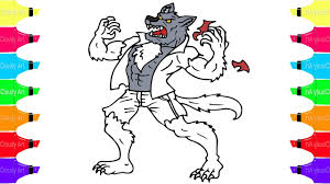 How to Draw a Werewolf | Coloring Pages For Halloween With Cloudy ...