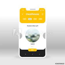 restaurant menu design app yellow meat house restaurant menu ui ux gui screen for