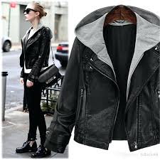 black faux leather moto jacket black hooded faux leather rcycle er jacket with zipper autumn winter