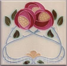 art nouveau mackintosh rosetiles plaque fireplace bathroom splashback mac8