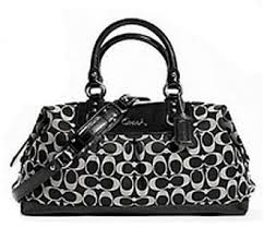 Coach Large Signature Ashley Sabrina Convertiable Satchel Bag Purse Tote  15440 Black White