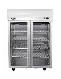 top mounted double door glass fridge