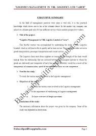 A Project Report On Logistics Management In Vrl Logistics
