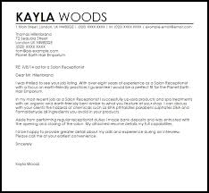 Cover Letter Examples For Salon Receptionist Sample Cover Letters