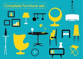creative furniture icons set flat design. creative furniture icons set flat design