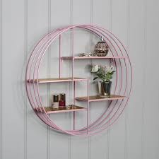 details about round pink metal wire gold wall shelves bedroom living room display shelf