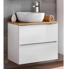 Badezimmer Waschtisch Set Mit 60cm Keramik Aufsatzwaschbecken Toskana 56 Hochglanz Weiß Wotaneiche Bxhxt Ca 609448cm