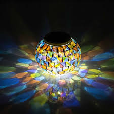 Solar Powered Mosaic Glass Ball Garden Lights Color Changing Solar Table Lamps Solar Outdoor Lights For Parties Decorations