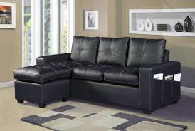 2 pc everly collection black faux leather upholstered sectional sofa set with reversible ottoman chaise