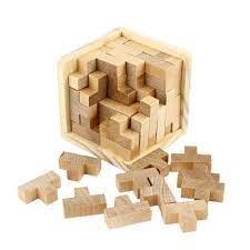 Bộ xếp hình 3D bằng gỗ 54 miếng kích thích trí thông minh - Xếp khối Hãng  OEM