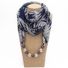 2018 new ethnic necklace collar scarf charms beads pendant scarves women bohemia necklace chiffon scarf jewelry ring shawl blue scarf orange scarf from
