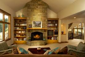 Modern Living Room With Fireplace Design966644 Living Room With Stone Fireplace Natural Stone