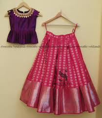 Full Blouse Designs For Children S Beautiful Pink Color Designer Lehenga And Purple Color