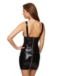 Ann Summers Womens Electra Wet Look Dress Black Sexy High Shine Bedroom  Outfit